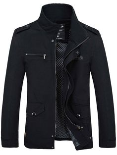 #SammyDress - #Rosewholesale Stand Collar Side Pocket Design Graphic Print Jacket - AdoreWe.com