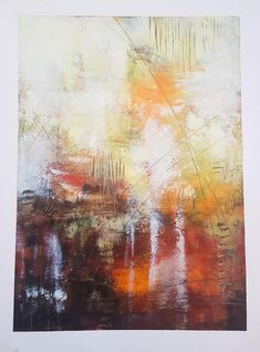 """""""Liquid Sunset"""" Cold Wax and Oil on Paper"""