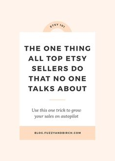 "The one thing all top Etsy Sellers do that no one talks about - My job is a little weird. As an Etsy Business Coach, I basically listen to super talented people tell me all the reasons they can't manage to make money. And the #1 complaint I hear all the time? ""Why the HELL is everyone and their mother making a million sales on Etsy, and I've got NOTHING??? My product is better, my photographs are awesome, my SEO is perfect! What the F*CK gives???"" -- find out what you need to do..."
