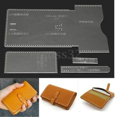 Clear Acrylic Leather Template Set for DIY Leathercraft Leather Wallet Pattern