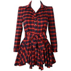 Choies Red Plaid Long Sleeve Shirt Dress With Bowknot Belt (39 CAD) ❤ liked on Polyvore featuring dresses, vestidos, tops, plaid dress, red dress, women dresses, red valentines day dress and tartan dress