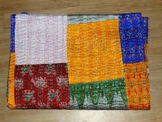 Indian Silk Patola Blanket Sari Kantha Quilt Patchwork Gudari Bedspread  #Handmade #Asian