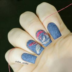 Textile Nail Designs,Denim Nails and Embroidered Nails, Jeans nail style. This one imitates embroide Nailart, Plain Nails, Us Nails, Nail Artist, Embroidery Thread, New Trends, You Nailed It, Nail Colors, Fashion Art