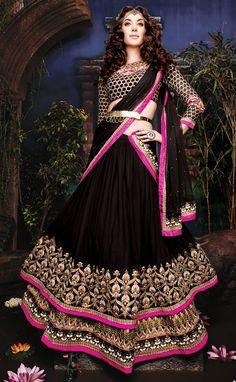 USD 148.03 Black Net Designer Lehenga Choli 43758