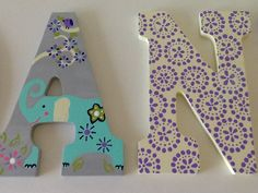 Custom Painted Girl's Wall Letters Zoo Garden by SophiasRosieRoom Hanging Letters On Wall, Letter Wall, Stylish Alphabets, Painting Wooden Letters, Baby Night Light, Olivia Rose, Bedroom Themes, Baby Decor, Couple Pictures