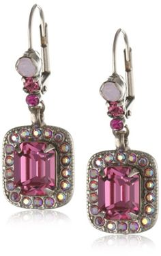 "Sorrelli ""Sweet Heart"" Pink Emerald Cut with Crystal Bezel French Wire Earrings"