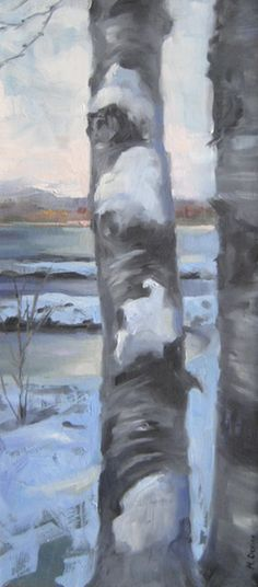"""Winter Birch"" by Melissa Devine - x Sheridan College, Moving To California, Animation Film, Birch, Art Gallery, Fine Art, Winter, Illustration, Painting"