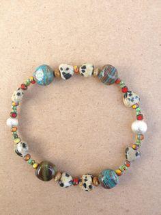 Gemstone medley eclectic bracelet bohemian chic by NanabojoDesigns, $18.00
