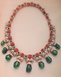 Van Cleef & Arpels Indian Style Diamond Emerald Ruby Necklace 1960.