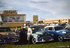 At the Sahara, Las Vegas, June 1955.  '52/53 Packard, 51 Oldsmobile, and 54 Mercury Monterrey. Kodachrome slide scan by VLV.