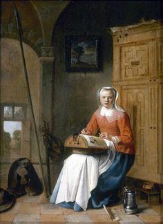 Pieter Jacobsz. Codde (Dutch artist,  1599-1678) Lacemaker