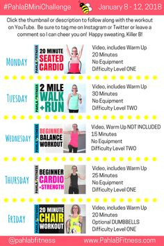 2018 january 8 - 12 level three+ week two 5 day workout plan, 5 Day Workout Plan, 5 Day Workouts, Weekly Workout Plans, Workout Plan For Women, Exercise Plans, Warm Up Cardio, Workout Plan Template, Gym Video