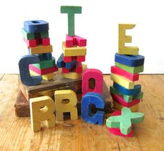 vintage wood letters wooden alphabet letters by anythinggoeshere, $14.50