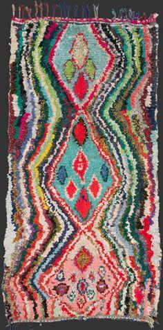 bs158, highly energetic Moroccan vintage boucherouite rag rug, 245 x 125 cm / 8' 2'' x 4' 2'' ↑