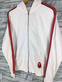 0dda76b2e A BATHING APE Hoodie Sweatshirt Small Nigo Hip Hop Japan Bape Baby Milo Ape  Shall Never Kill Ape White Zipper Sweaters Jacket Size S