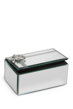 Bow Detail Mirror Silver Jewelry Box