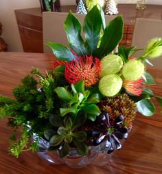 Succulents and cut flowers