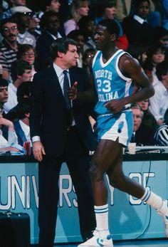 Coach Dean Smith gives Michael Jordan a breather. Michael Jordan Unc, Jordan 23, Basketball Legends, Basketball Players, Basketball Shorts Girls, College Basketball, Jordan Basketball, Carolina Blue, North Carolina