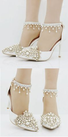 In Stock Graceful PU   Lace Pointed Toe Ultra-High Heel Wedding Shoes b9a3664fcf6e