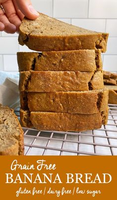 This Grain Free Banana Bread has no added sugar, only sweetened with bananas, making it a perfect part of a healthy breakfast. It uses less than 10 ingredients and is super easy to make. This recipe is also paleo, gluten free and dairy free. #bananabread #noaddedsugar #glutenfree Healthy Gluten Free Bread Recipe, Gluten Free Banana Bread, Gluten Free Snacks, Gluten Free Breakfasts, Banana Bread Recipes, Healthy Breakfast Recipes, Breakfast Ideas, Paleo Recipes, Almond Banana Bread
