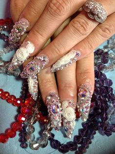 Nail Couture Custom Design, Houston TX (Gyaru Nails) Bling Wedding Nails, Bling Nails, Nail Wedding, Bling Bling, Love Nails, Pretty Nails, My Nails, Kawaii Nails, Swarovski Nails