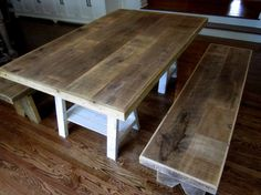 reclaimed wood patchwork table & benches by the guys at recycled brooklyn Recycled Wood Furniture, Salvaged Wood, Old Wood, Communal Table, Dinning Table, Wood Table, Building Furniture, Easy Woodworking Projects, Time Kids