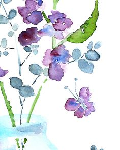 watercolor flower, bathroom art, bathroom wall decor, watercolor painting, purple, butterfly art, blue, green - Keeping Spring 9 - 8x10. $16.00, via Etsy.