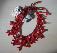 crochet coral necklace