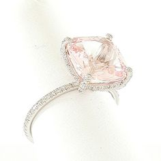Vera Wang Morganite Diamond Ring...Stunning. But instead, a white diamond with the skinny band and two very skinny rose gold wedding bands :-) classy, unique, and timeless.