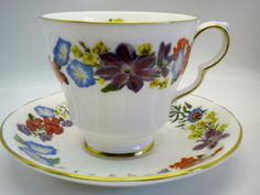 Royal Doulton July Flower of the Month Tea Cup and Saucer Fine Bone China 1983