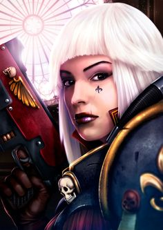 I always apply lipstick before battle. dnatemjin imperium portrait sisters_of_battle