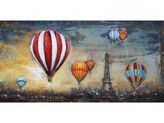 Luchtballonnen boven Parijs, schilderij van metaal Paris, Canvas, Design, Painting, Events, Type, Products, Tela, Montmartre Paris