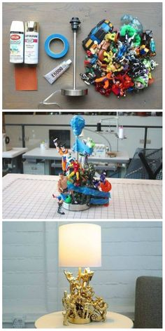 Recicla juguetes para hacer una lámpara muy original Easy Diy Room Decor, Boys Room Decor, Diy Arts And Crafts, Fun Crafts, Recycled Toys, Marvel Room, Nerd Room, Diy Y Manualidades, Diy Interior