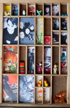 How to collage photos and knick-knacks in a vintage, mini, super-customizable display | Offbeat Home