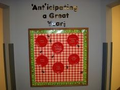 """Back to school bulletin board--""""Ant""""icipating a great year--picnic table with ants and plates with goals or rules on them."""