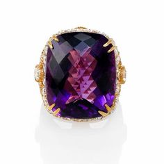 Haggai Diamond and Purple Amethyst 18k Yellow Gold Ring