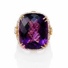 Haggai Diamond and Purple Amethyst 18k Yellow Gold Ring