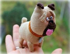 """Meet Mel, the pug from a popular cartoon """"The Secret Life of Pets""""! The toy is about 9 cm tall. It was made with the help of very thin mercerized cotton yarn (20 g / 100 m) and 0.5 mm crochet ..."""