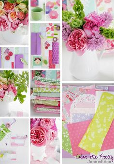 pink purple chartreuse mood board from Color Me Pretty