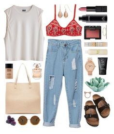 Gypsiana by sophiehackett on Polyvore featuring polyvore fashion style Birkenstock Sole Society Nixon Topshop Aamaya by priyanka The Row MAC Cosmetics NARS Cosmetics MAKE UP FOR EVER Elie Saab Le Labo Henri Bendel HomArt