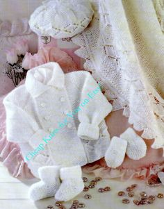 Baby DK 8ply Matinee Jacket Beret Mittens Bootees by CheapKnits4u