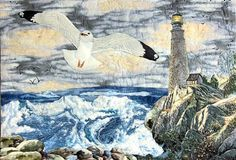 Lighthouse quilt.  Like the detail of the seagull, and waves.