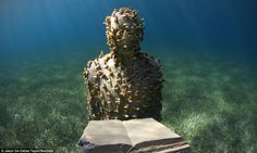 The sculpture is planted with more than 200 cuttings of the rare Acropora Prolifera coral, in Cancun, Mexico.