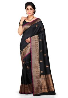 Buy Banarasi Handloom Pure Silk Saree in Back online, work: Hand Woven, color: Black, usage: Wedding, category: Sarees, fabric: Silk, price: $326.00, item code: SAVA422, gender: women, brand: Utsav