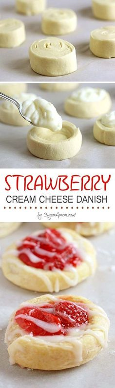 Who can resist flaky crescent rolls combined with a sweet cream. Who can resist flaky crescent rolls combined with a sweet cream cheese and strawberry filling? These strawberry cream cheese danish are so addictive! Brownie Desserts, Just Desserts, Delicious Desserts, Dessert Recipes, Yummy Food, Sweet Desserts, Brunch Recipes, Trifle Desserts, Coffee Recipes
