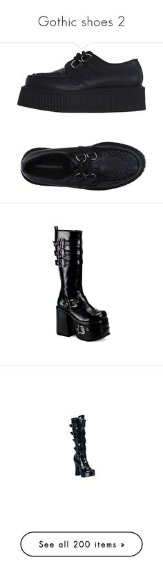 """""""Gothic shoes 2"""" by jeanettebeatrice ❤ liked on Polyvore featuring shoes, black, black laced shoes, leather wedge shoes, creeper shoes, wedges shoes, black leather shoes, boots, steam punk boots and goth boots"""