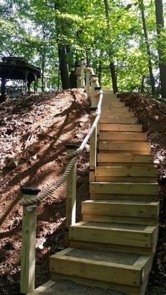 Box Wood Steps on steep hill gravel fill. 46 & 44 treds and rise. Landscape Stairs, Landscape Design, Garden Design, Sloped Landscape, Sloped Yard, Sloped Backyard, Hillside Garden, Garden Paths, Sloping Garden