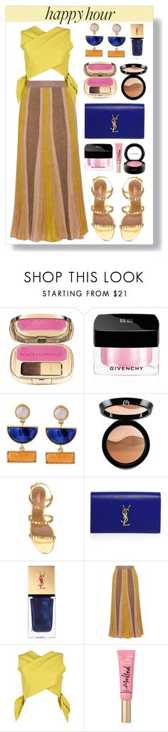 """""""Happy Hour"""" by keepfashion92 ❤ liked on Polyvore featuring Dolce&Gabbana, Givenchy, Kakao By K, Giorgio Armani, Aquazzura, Yves Saint Laurent, Missoni, MSGM, Too Faced Cosmetics and MAC Cosmetics"""