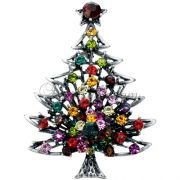 Multicolor Crystal Vintage Style Christmas Tree Swarovski Crystal Christmas Brooches Pins