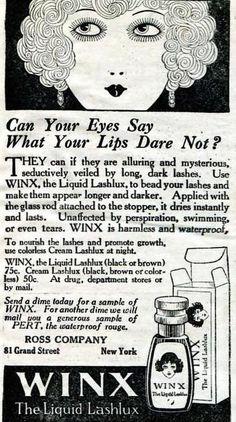 Winx Waterproof Mascara, April 1923. *gasp*